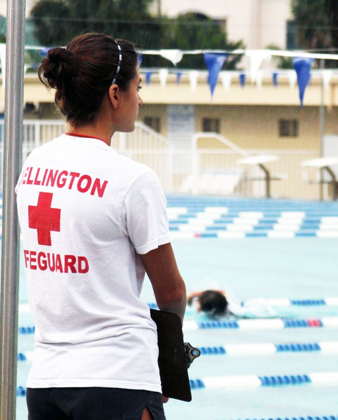 Female Lifeguard watching over Wellington Aquatics Complex pool