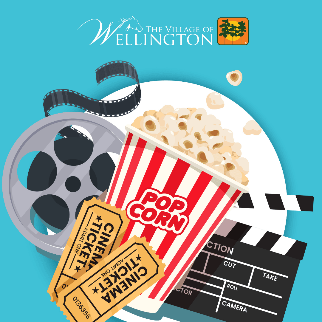 The Village of Wellington, graphic of popcorn, tickets a film reel and clapperboard.