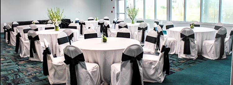 Lake View Room event setup with tables and chairs
